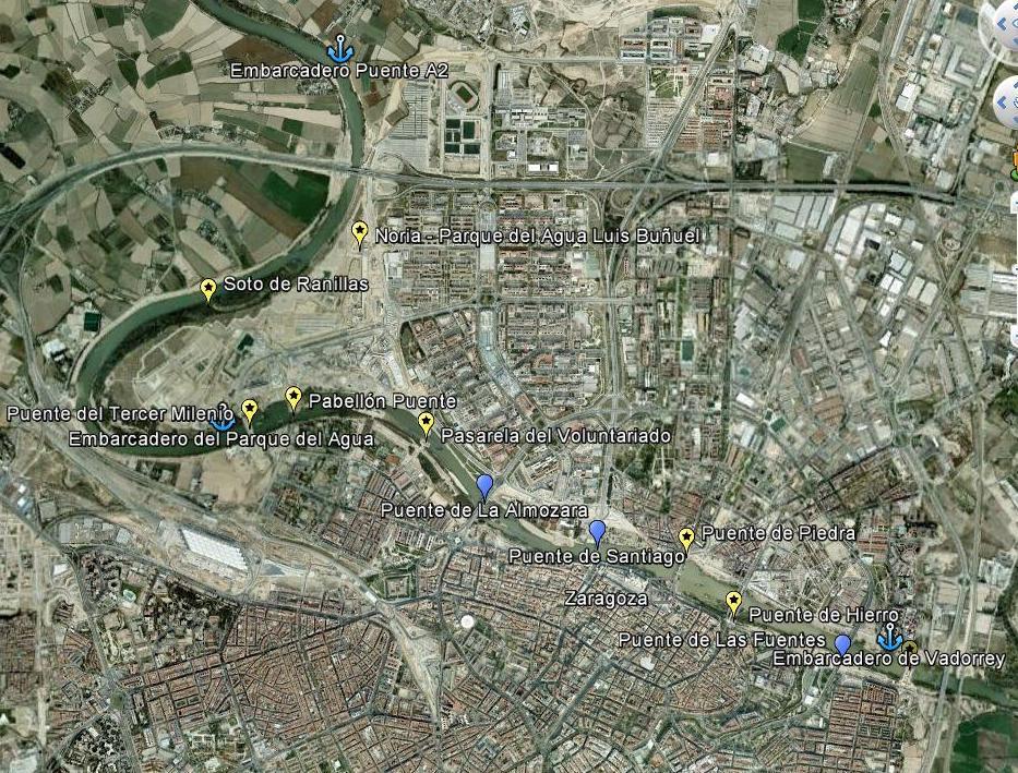 Mapa de los puntos de interés fluvial en Zaragoza
