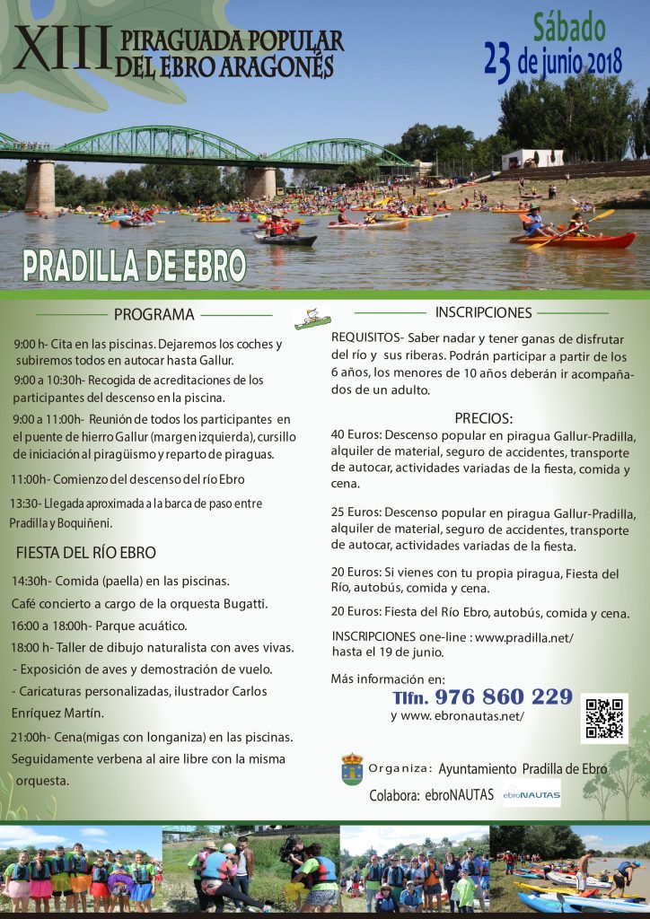 Programa de la Piraguada popular del Ebro en Pradilla